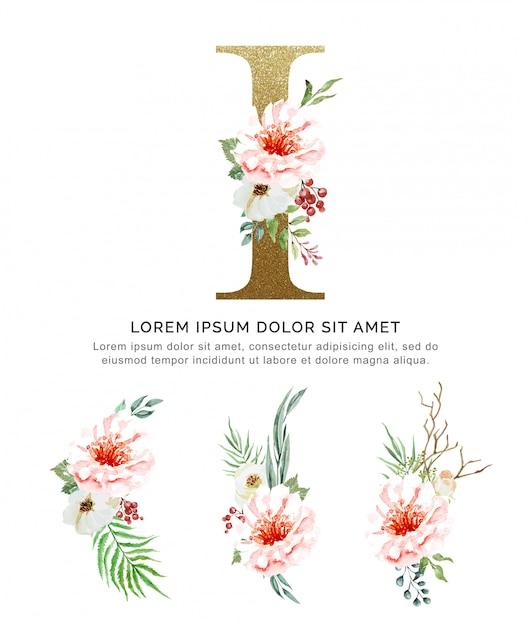 Alfabeto i con ramos de flores colección acuarela. Vector Premium