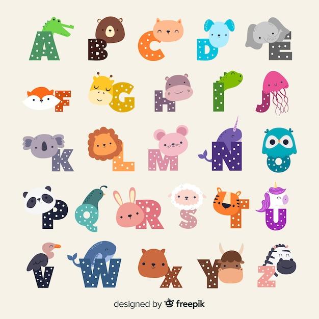 Alfabeto ilustrado de zoológico de dibujos animados lindo con divertidos animales vector gratuito