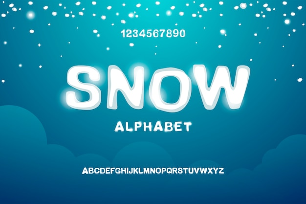 Alfabeto inglés nevado Vector Premium
