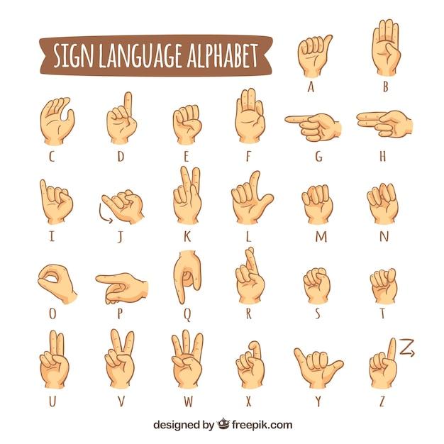 Alfabeto de lenguaje de signos en estilo hecho a mano vector gratuito