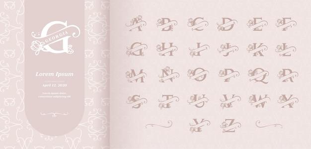 Alfabeto de letras divididas Vector Premium