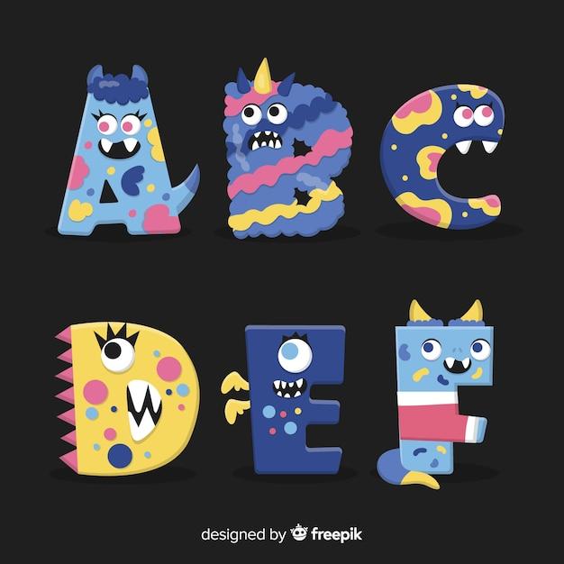Alfabeto lindo monstruo de halloween vector gratuito