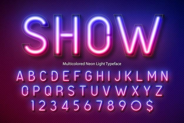 Alfabeto de luz de neón, fuente brillante extra multicolor Vector Premium