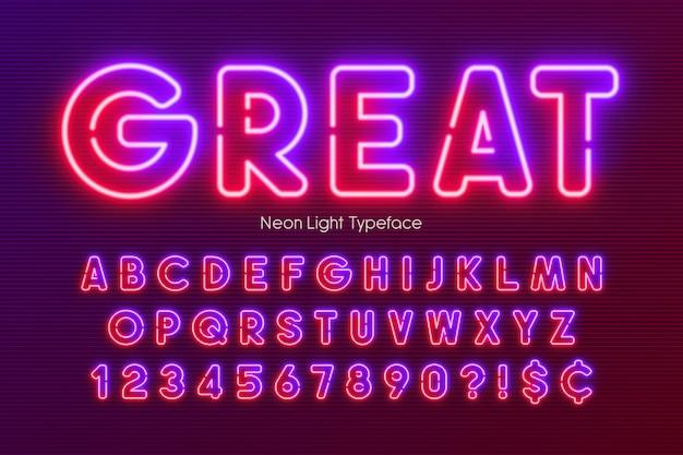 Alfabeto de luz de neón, fuente brillante extra multicolor. Vector Premium