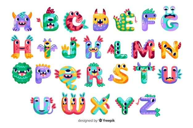 Alfabeto de monstruo de halloween de dibujos animados lindo vector gratuito