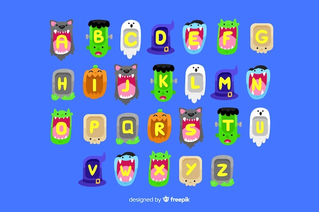 Alfabeto de monstruo de halloween vector gratuito
