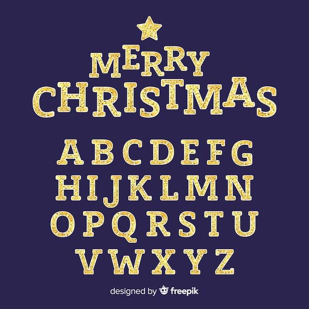 Alfabeto de navidad espumoso de oro vector gratuito