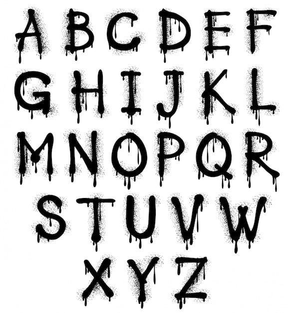 Alfabeto negro graffiti Vector Premium