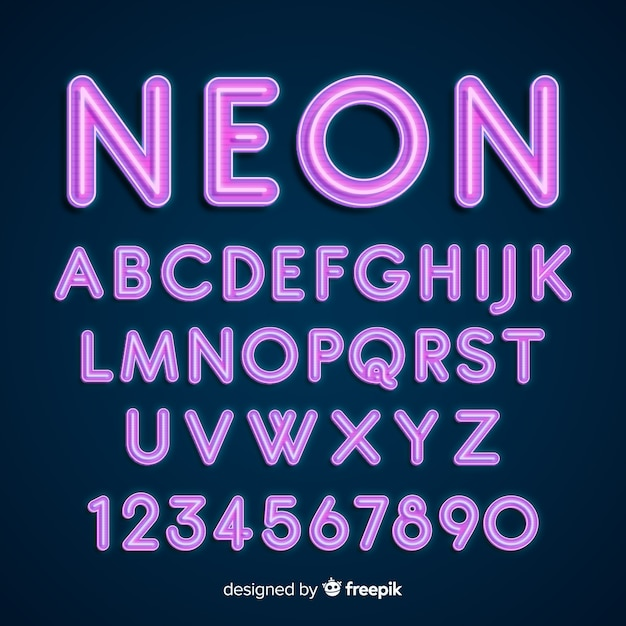 Alfabeto de neó vector gratuito