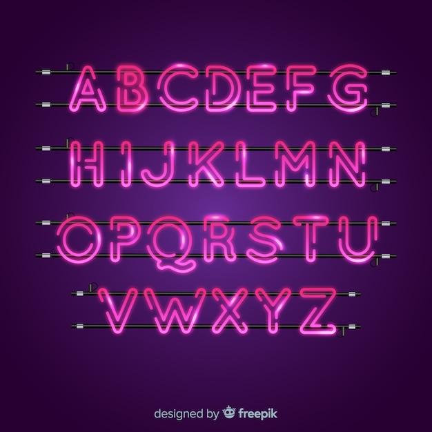Alfabeto de neón rosa vector gratuito