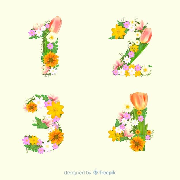Alfabeto realista de flores vector gratuito