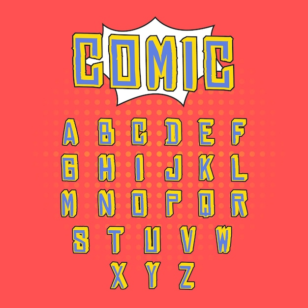 Alfabeto retro 3d vector gratuito