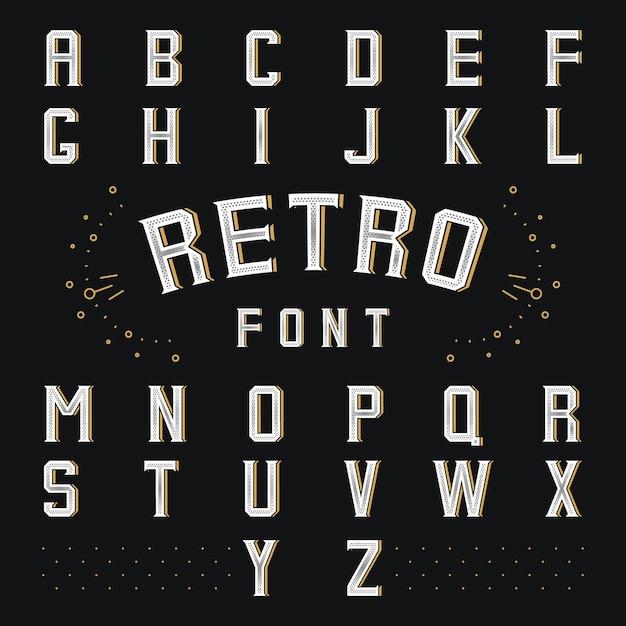 Alfabeto retro de chicago. estilo abc, letra y fuente, símbolo de idioma vector gratuito