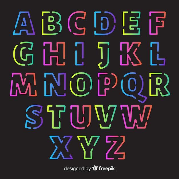 Alfabeto retro plantilla estilo degradado vector gratuito