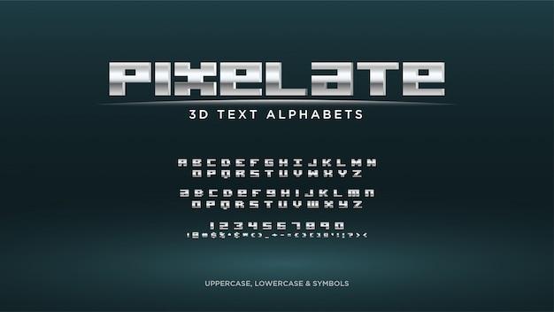 Alfabeto de texto de videojuego de píxeles Vector Premium