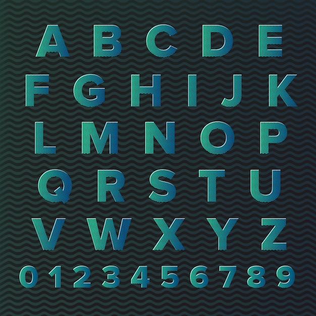 Alfabeto tipográfico Vector Premium