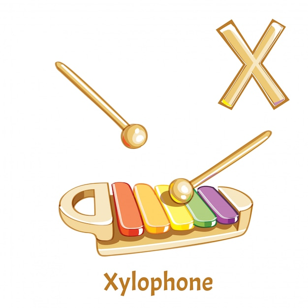 Alfabeto vectorial letra x. xilófono Vector Premium