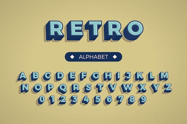 Alfabeto de la a a la z en concepto retro 3d vector gratuito