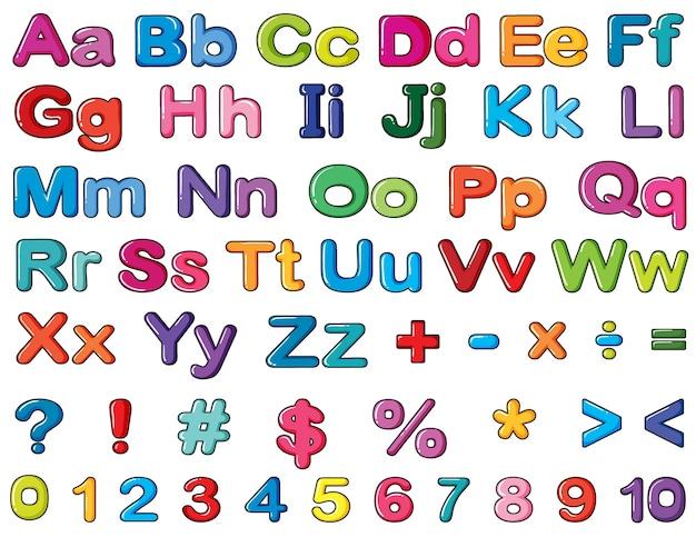 Alfabetos y números vector gratuito