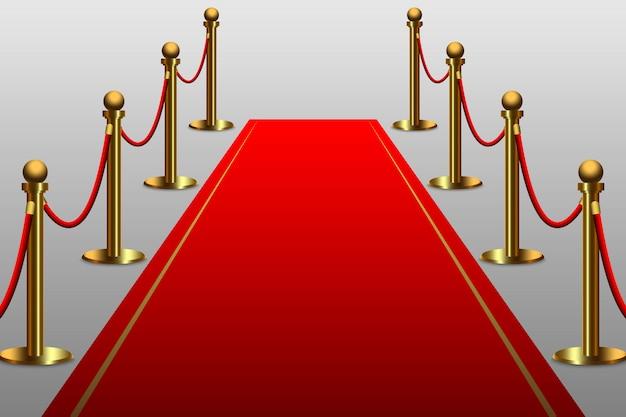 Alfombra roja para celebridad con barrera de cuerda. Vector Premium
