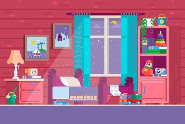 Algunos dormitorios para ni os ilustraci n de un for Dormitorio animado
