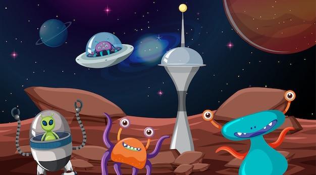 Alien en la escena espacial vector gratuito