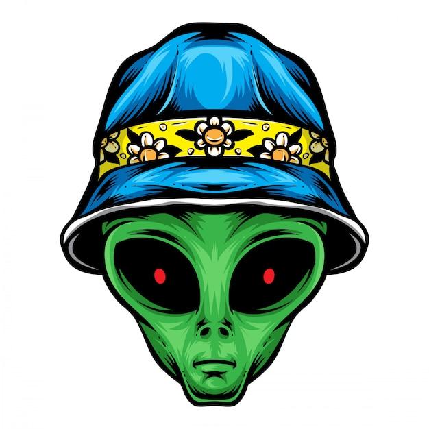 Alien con sombrero de cubo Vector Premium