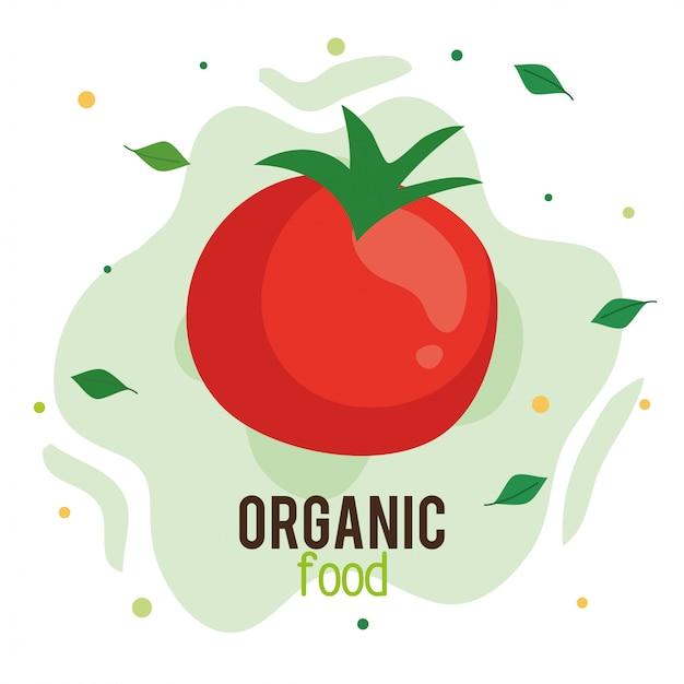 Alimentos orgánicos, tomate fresco y saludable, concepto de comida sana Vector Premium