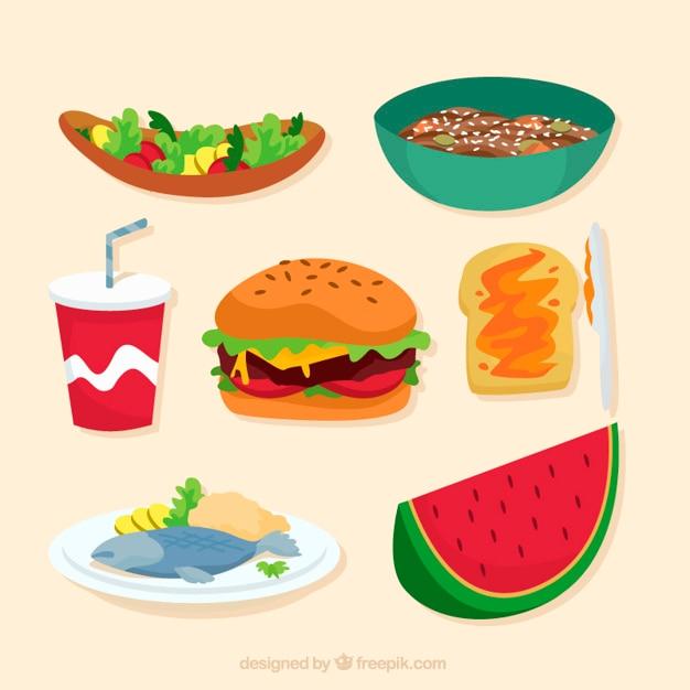 Alimentos sabrosos y variados | Descargar Vectores gratis