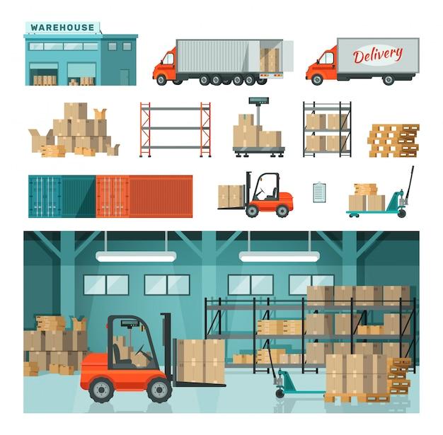 Almacén industrial logístico en transporte de almacenamiento aislado en blanco dibujado ilustración. Vector Premium