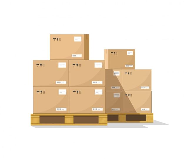 Almacén de paquetes de paquetes de pila Vector Premium
