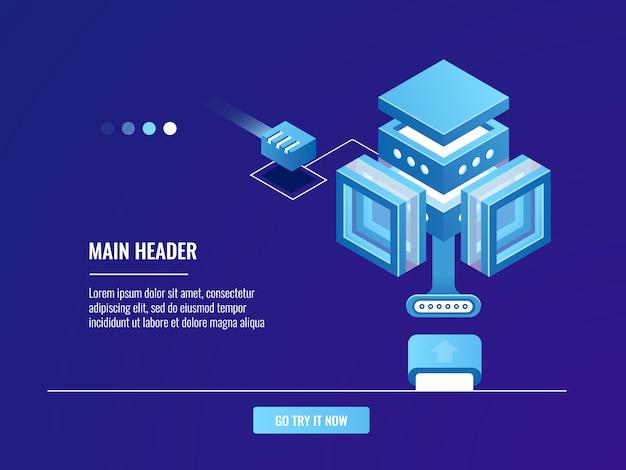 Almacenamiento de datos grandes, sala de servidores en la nube, conexión a internet, redes vector gratuito