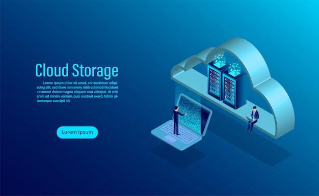 Almacenamiento en la nube. concepto de almacenamiento de computación en línea. diseño plano isométrico Vector Premium