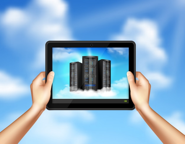 Almacenamiento en la nube en manos sosteniendo tableta vector gratuito
