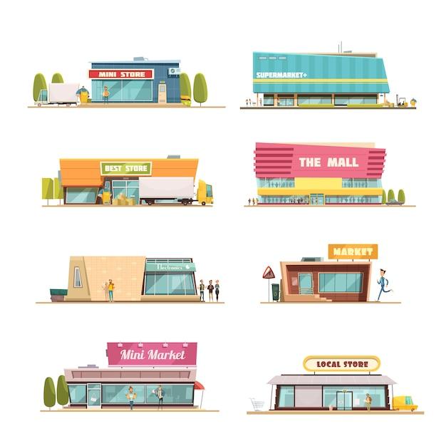 Almacene los edificios con el centro comercial y los dibujos animados de símbolos de la tienda local aislados ilustración vectorial vector gratuito