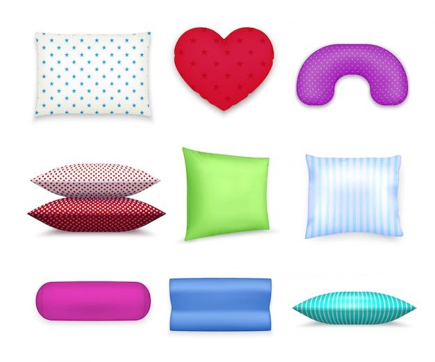 Almohadas cojines coloridos conjunto realista vector gratuito