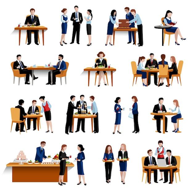Almuerzo de oficina de negocios vector gratuito