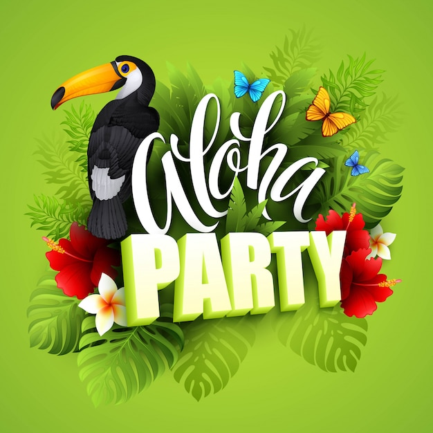 Aloha hawaii. letras de mano con flores exóticas. ilustración Vector Premium