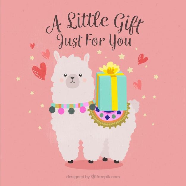 Alpaca con regalo vector gratuito