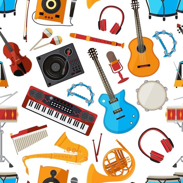 Altavoces, amplificador, sintetizador y otros instrumentos musicales y accesorios. vector sin patrón con instrumento musical, guita y micrófono ilustración Vector Premium