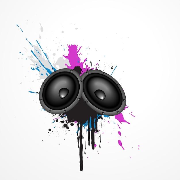 Altavoces  de música en arte grunge vector gratuito