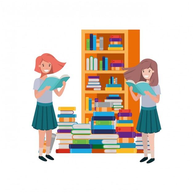 Alumnas con libro de lectura en las manos. vector gratuito