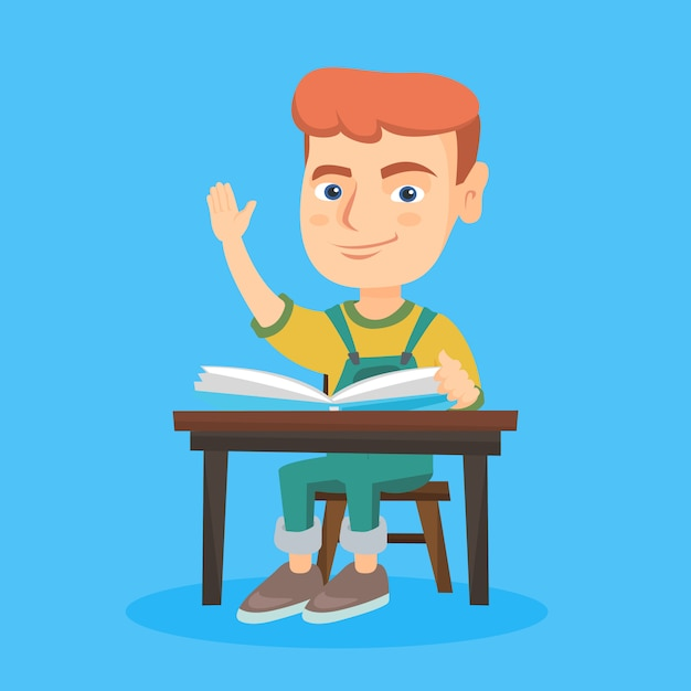 Alumno levantando la mano mientras está sentado en el escritorio. Vector Premium