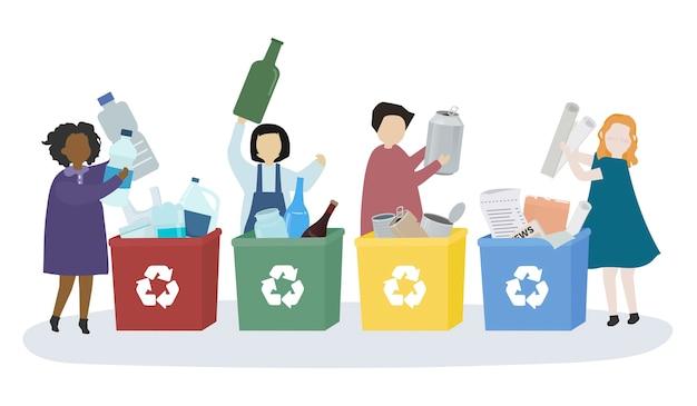 Alumnos aprendiendo sobre diversos materiales reciclables. vector gratuito