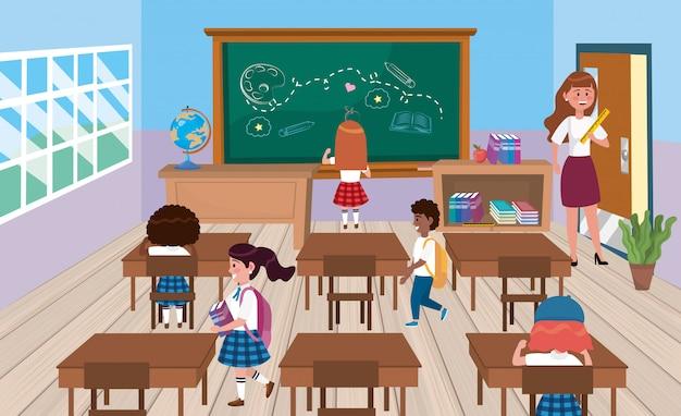Alumnos de niñas y niños con maestra en el aula. vector gratuito