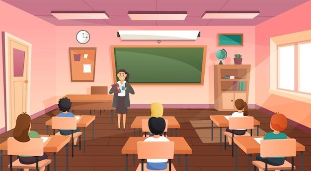 Alumnos y profesor en la clase. Vector Premium