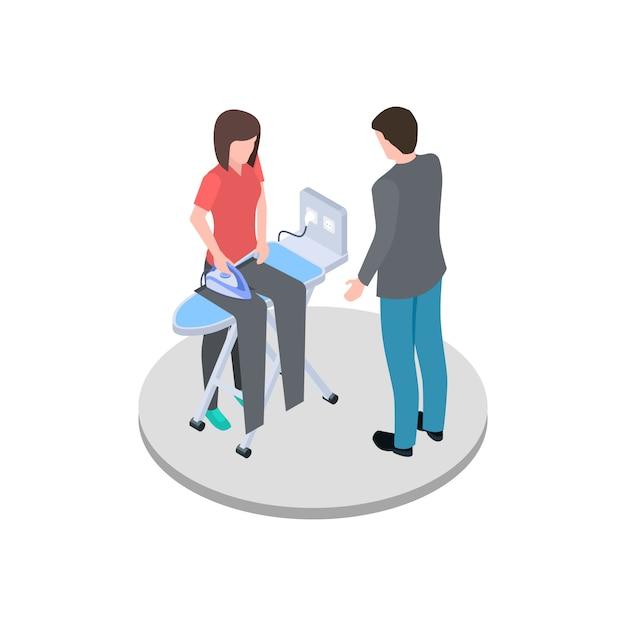 Ama de casa planchando a su marido pantalones vector isométrica Vector Premium