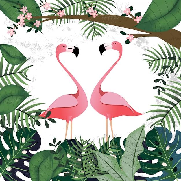 Amante del flamenco en la jungla tropical rosa Vector Premium