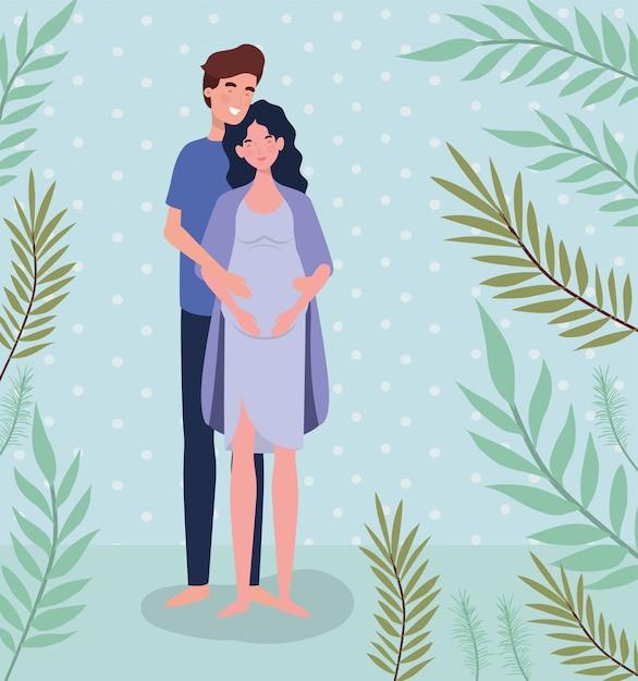 Amantes lindos pareja embarazo personajes en el paisaje vector gratuito