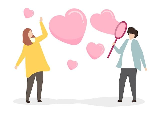Amantes que soplan burbujas de jabón del corazón vector gratuito